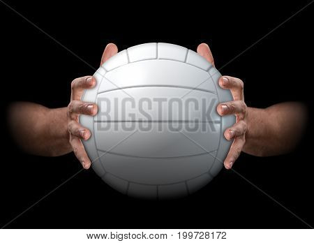 Hands Gripping Volleyball