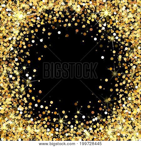 Gold glitter frame with empty space for text. Scattered golden confetti. Bright shining gold. Rich luxury fashion glitter backdrop. Golden round dots.