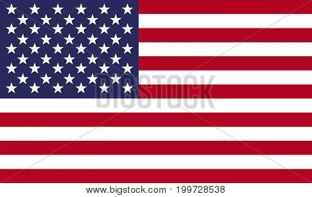 USA flag vector illustration. American national United States flag with stars and stripes for federal banners and state government decoration