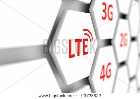 LTE conceptual cell blurred background 3D illustration