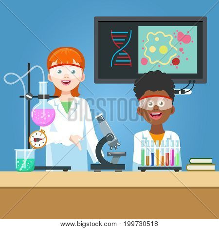 Girl scientist and student in chemistry laboratory. Vector illustration