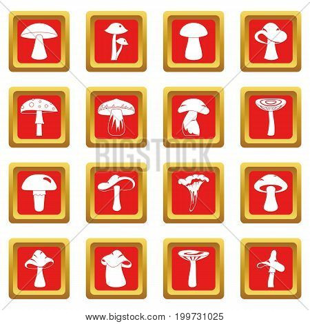 Mushroom icons set in red color isolated vector illustration for web and any design