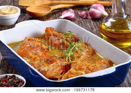 Rabbit Cooked In Mustard Cream Sauce