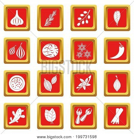 Spice icons set in red color isolated vector illustration for web and any design