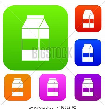 Box of milk set icon in different colors isolated vector illustration. Premium collection