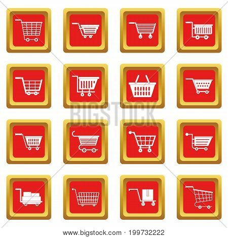 Shopping cart icons set in red color isolated vector illustration for web and any design