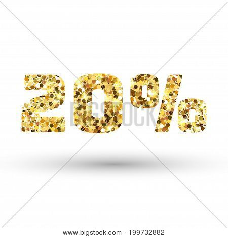 Gold 20 percent on white background. Twenty percent golden glitter. Amber particles gold confetti number.
