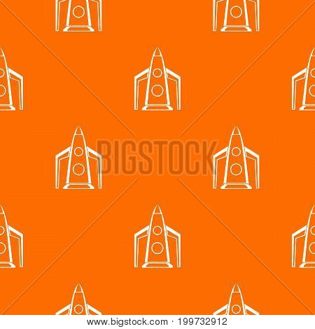 Rocket pattern repeat seamless in orange color for any design. Vector geometric illustration