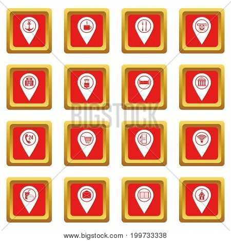 Points of interest icons set in red color isolated vector illustration for web and any design