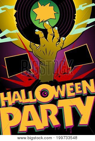 Halloween party design mock up with zombie hand, comic style poster concept, empty speech bubbles with copy space for text, raster version