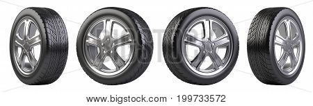 New car wheels set. Isolated on white background 3d illustration.