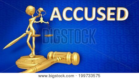Accused Law Concept Lady Justice The Original 3D Character Illustration
