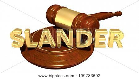 Slander Legal Gavel Concept 3D Illustration