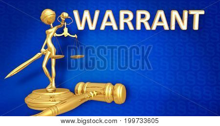 Warrant Law Concept Lady Justice The Original 3D Character Illustration