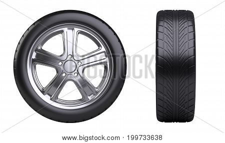 New car wheel front and side view. Isolated on white background 3d illustration.