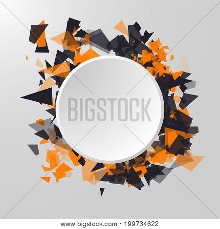 Abstract Circle Banner. Abstract triangles particles with transparent shadows. Advertisement panel, infographic background, item showcase concept.
