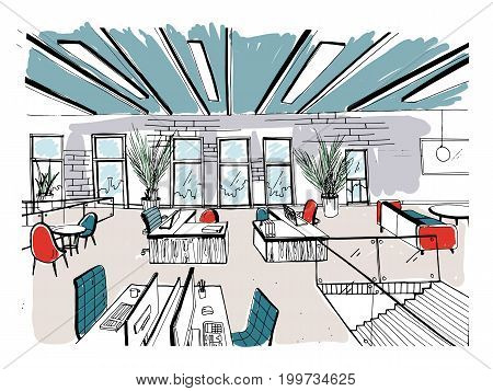 Hand drawn coworking cluster. Modern office interiors, open space. workspace with computers, laptops, lighting and place for rest. Colorful horizontal vector sketch illustration