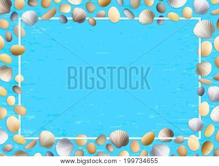 Shells frame. Blue grunge background. Stones and seashells vector. Summer illustration. Ocean or sea poster. Travel illustration. Tropical beach vacation.