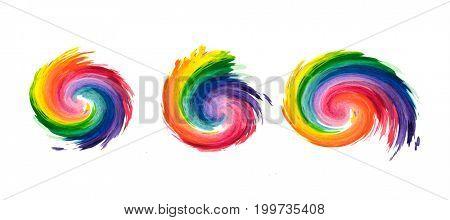Rainbow swirls. Isolated on white.