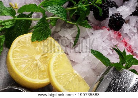 Sappy green leaves of mint, silver shaker, bright yellow lemons with sour pulp, blackberries, green leaves of mint, cool slices of ice on a colorful background.