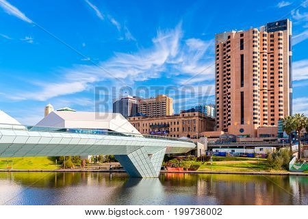 Adelaide Australia - December 2 2016: Adelaide city foot bridge leading to InterContinental hotel viewed through Torrens river on a bright day