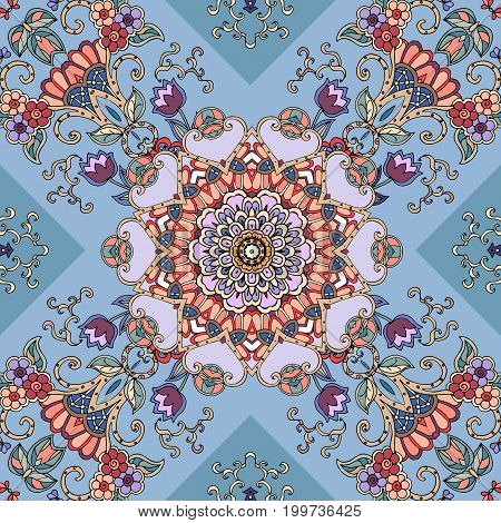Seamless vector background with abstract flower mandala and lilac tulips. Print for fabric, carpet, greeting card, pillowcase, bandana. Diagonal composition.