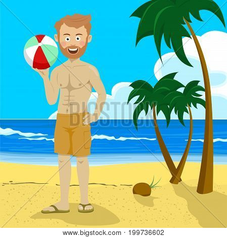 Young hipster man holding inflatable ball standing on the tropical beach with palm trees