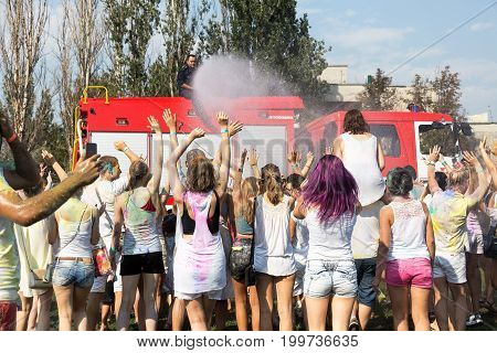 Odessa, Ukraine - August 5, 2017: Boys And Girls In Wet Clothes Fun To Do Selfie During Festival Of