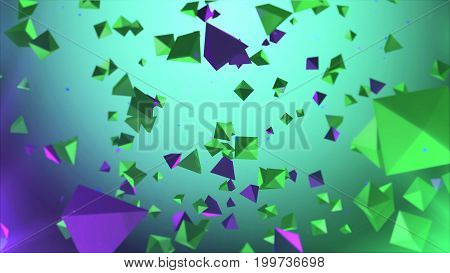 Colorful Pyramides Rotating In The Air