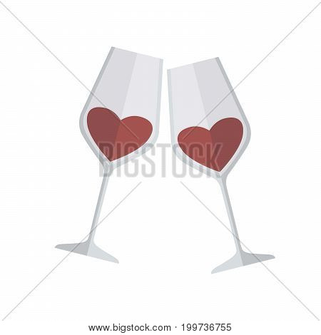 Two glasses of wine. Colored vector illustration on white background