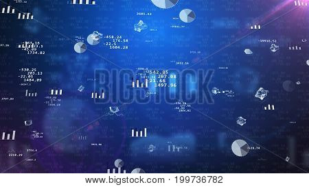 Impressive 3D illustration of stock exchange data with rotating pie charts histograms bar charts decimal numbers enigmatic figures spheres. The background is dark blue with several tints