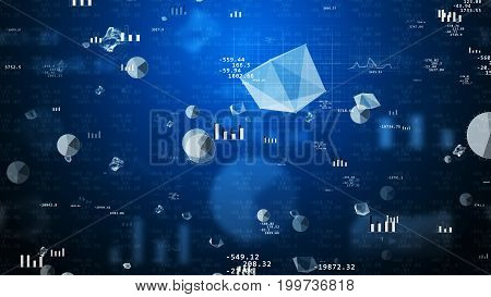 Splendid 3D illustration of stock exchange values with revolting pie charts histograms bar charts decimal numbers futuristic figures spheres. The background is dark blue with several shadows