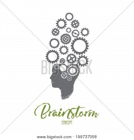 Brainstorm concept. Hand drawn thinking mechanism. Human head with gears inside isolated vector illustration.