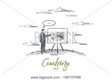 Coaching concept. Hand drawn man coach near board. Male person in suit with pointer coaching isolated vector illustration.