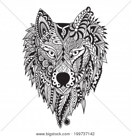 Zendoodle stylize of dire wolf design for tattoo, bag ,mug, pillow cover,T-shirt and adult coloring book page. Stock Vector