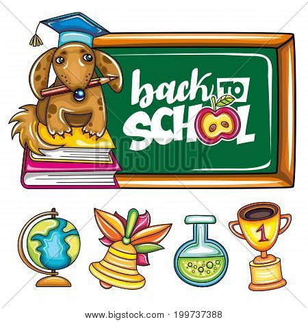 Vector dog in graduation hat with a pencil in his teeth sits on books near the green blackboard frame. Cartoon icons of globe bell vial gold cup Back to School lettering text apple of knowledge