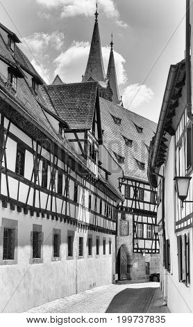 Historical buildings in downtown of Bamberg, Bavaria, Germany, Europe