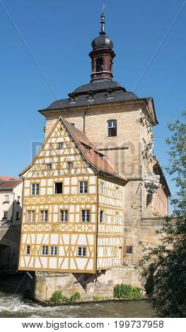 Famous city hall of Bamberg, located in the middle of the Regnitz river, Bavaria, Germany
