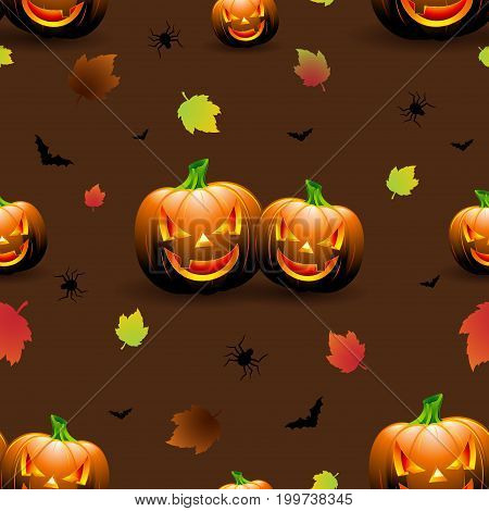 Halloween Seamless Pattern Illustration With Pumpkins Scary Faces And Autumn Leaves On Dark Backgrou