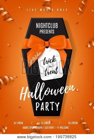 Halloween party vector poster with black coffin. Top view on realistic gift box with satin orange bow. Vector illustration with confetti and serpentine. Invitation to nightclub.