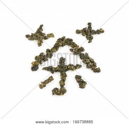 Fresh Tieguanyin Oolong tea leaves arranged as