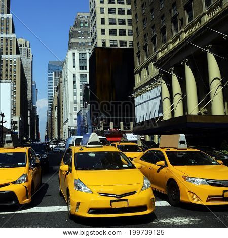 Yellow Taxi In New York, Manhattan Street