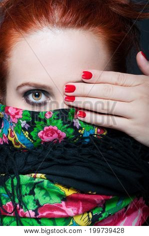 Closeup View Of Stylish Woman Covering Her Eye