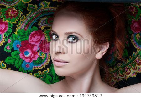 Closeup Beauty Portrait Of Young Redhead Female