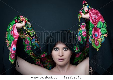 Female Model Posing Sensual With Her Scarf