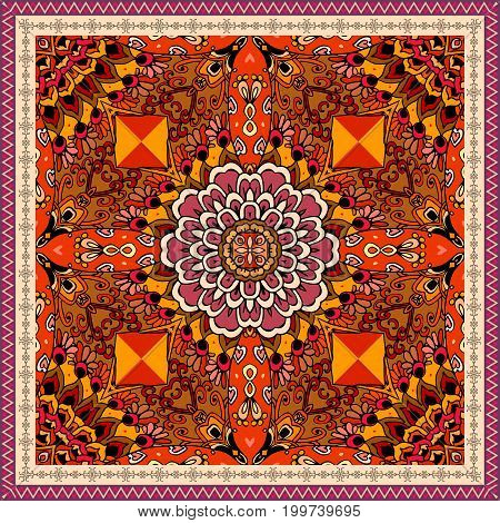 Ethnic pattern with red flower and ornamental frame. Chinese, mexican, aztec motives. Vector illustration. Carpet, bandana print, tablecloth, greeting card.