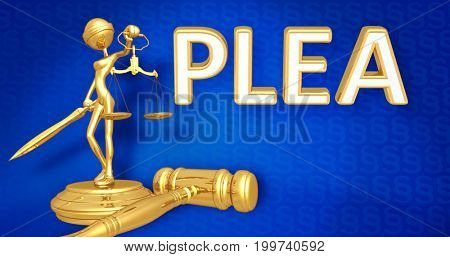 Plea Law Concept Lady Justice The Original 3D Character Illustration