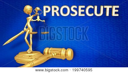 Prosecute Law Concept Lady Justice The Original 3D Character Illustration