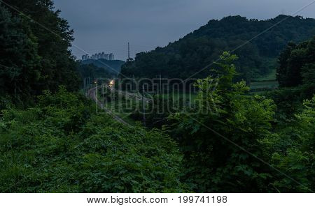 Night Photo Of Train In Countryside