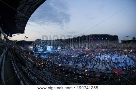 Cluj-Napoca, Romania - August 3, 2017:   Crowd having fun at a MO, a Danish singer and songwriter,  live concert at Untold Festival, one of the major music festival of Europe